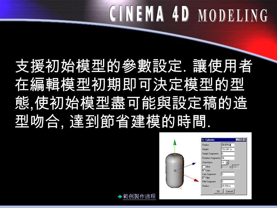 支援初始模型的參數設定. 讓使用者 在編輯模型初期即可決定模型的型 態, 使初始模型盡可能與設定稿的造 型吻合, 達到節省建模的時間. 範例製作過程