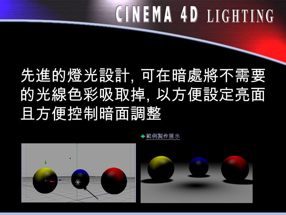 先進的燈光設計, 可在暗處將不需要 的光線色彩吸取掉, 以方便設定亮面 且方便控制暗面調整 範例製作展示