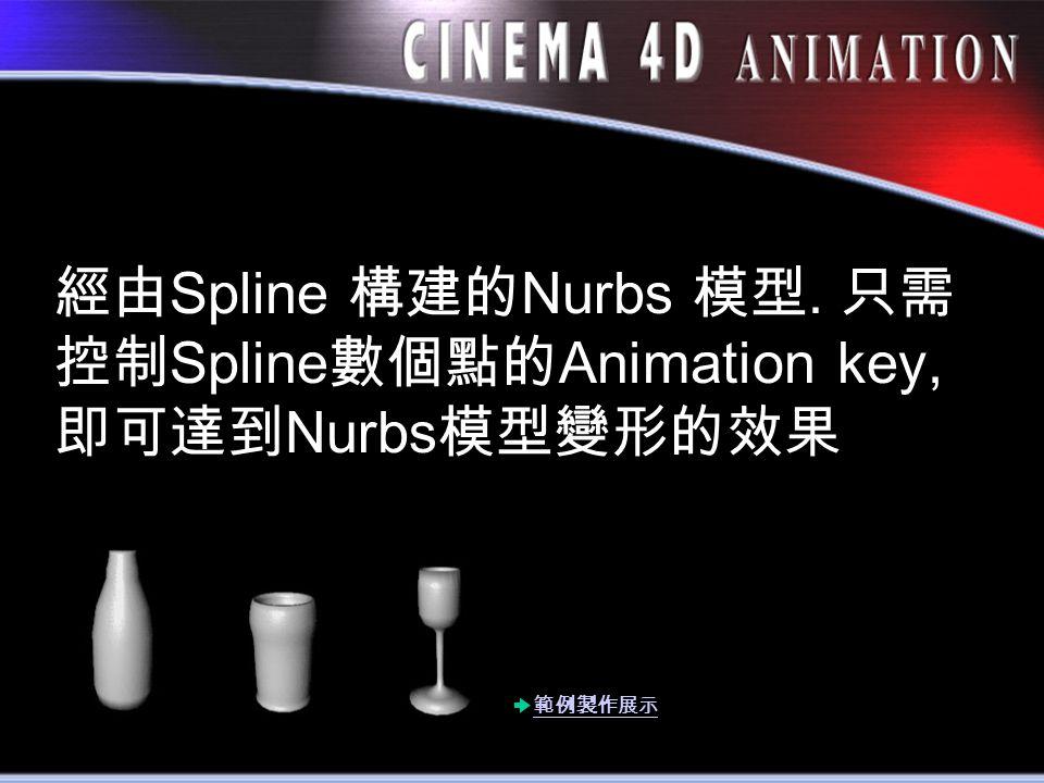 經由 Spline 構建的 Nurbs 模型. 只需 控制 Spline 數個點的 Animation key, 即可達到 Nurbs 模型變形的效果 範例製作展示