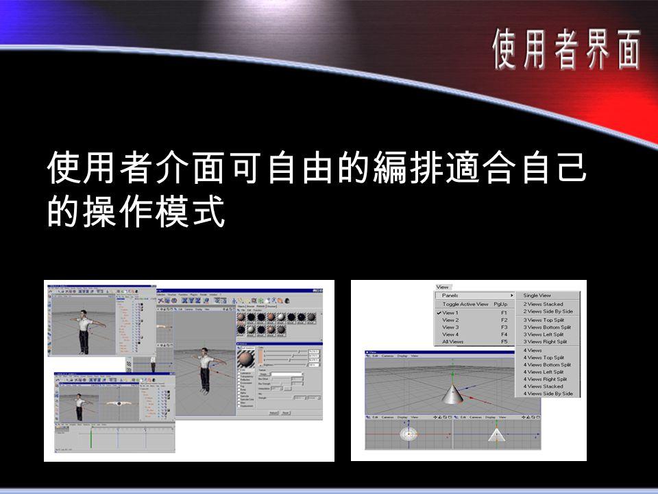 使用者介面可自由的編排適合自己 的操作模式