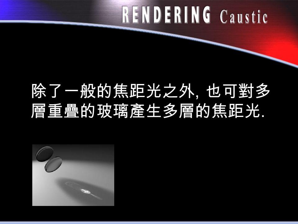 除了一般的焦距光之外, 也可對多 層重疊的玻璃產生多層的焦距光.