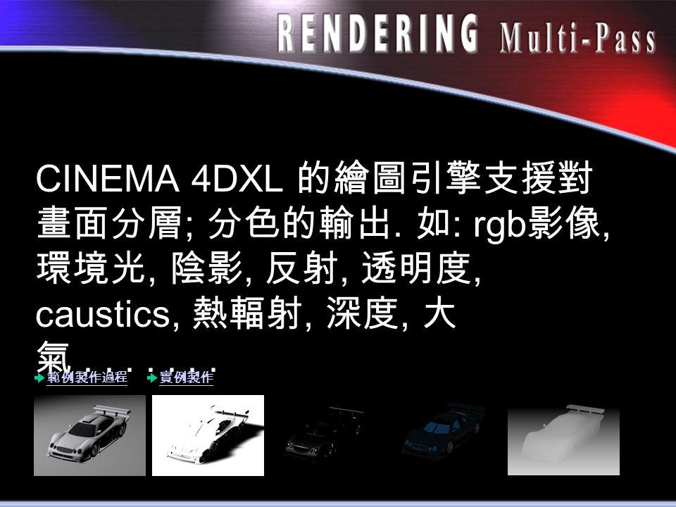 CINEMA 4DXL 的繪圖引擎支援對 畫面分層 ; 分色的輸出. 如 : rgb 影像, 環境光, 陰影, 反射, 透明度, caustics, 熱輻射, 深度, 大 氣.......