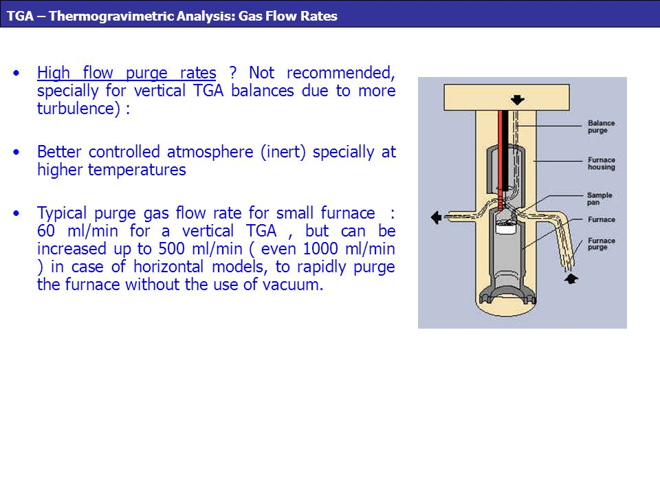 High flow purge rates ? Not recommended, specially for vertical TGA balances due to more turbulence) : Better controlled atmosphere (inert) specially