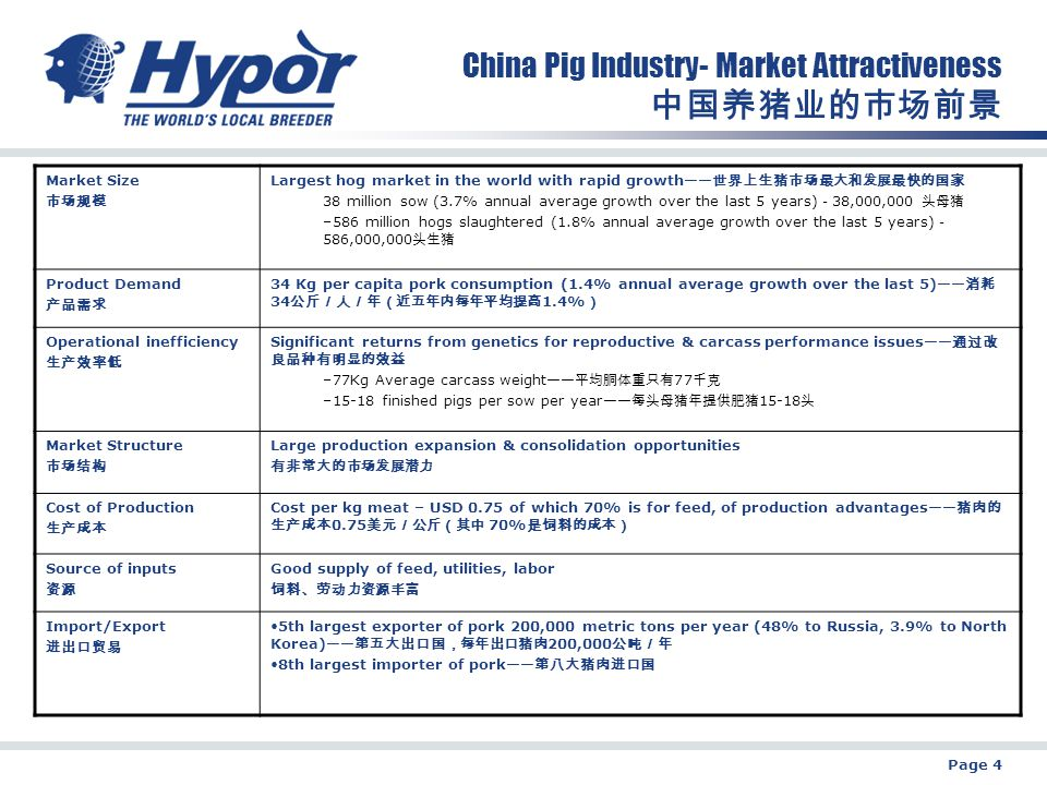 Page 4 China Pig Industry- Market Attractiveness 中国养猪业的市场前景 Market Size 市场规模 Largest hog market in the world with rapid growth—— 世界上生猪市场最大和发展最快的国家 38 million sow (3.7% annual average growth over the last 5 years) - 38,000,000 头母猪 –586 million hogs slaughtered (1.8% annual average growth over the last 5 years) - 586,000,000 头生猪 Product Demand 产品需求 34 Kg per capita pork consumption (1.4% annual average growth over the last 5)—— 消耗 34 公斤/人/年(近五年内每年平均提高 1.4% ) Operational inefficiency 生产效率低 Significant returns from genetics for reproductive & carcass performance issues—— 通过改 良品种有明显的效益 –77Kg Average carcass weight—— 平均胴体重只有 77 千克 –15-18 finished pigs per sow per year—— 每头母猪年提供肥猪 15-18 头 Market Structure 市场结构 Large production expansion & consolidation opportunities 有非常大的市场发展潜力 Cost of Production 生产成本 Cost per kg meat – USD 0.75 of which 70% is for feed, of production advantages—— 猪肉的 生产成本 0.75 美元/公斤(其中 70% 是饲料的成本) Source of inputs 资源 Good supply of feed, utilities, labor 饲料、劳动力资源丰富 Import/Export 进出口贸易 5th largest exporter of pork 200,000 metric tons per year (48% to Russia, 3.9% to North Korea)—— 第五大出口国,每年出口猪肉 200,000 公吨/年 8th largest importer of pork—— 第八大猪肉进口国
