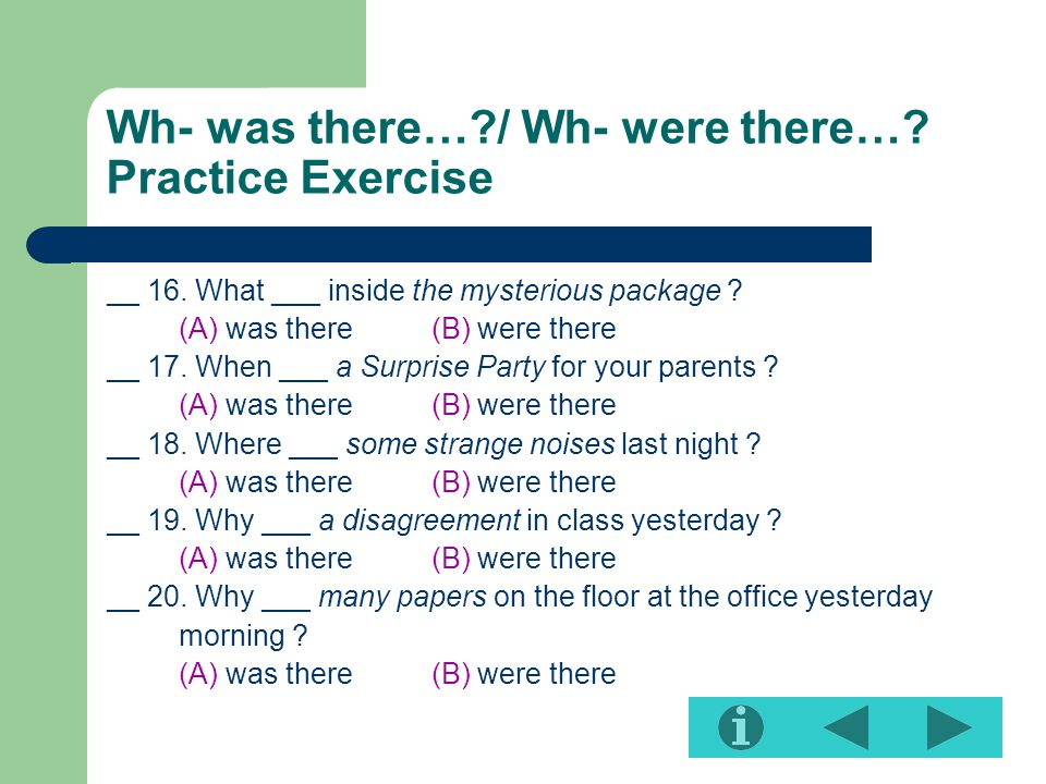 Wh- was there…?/ Wh- were there….Practice Exercise __ 16.