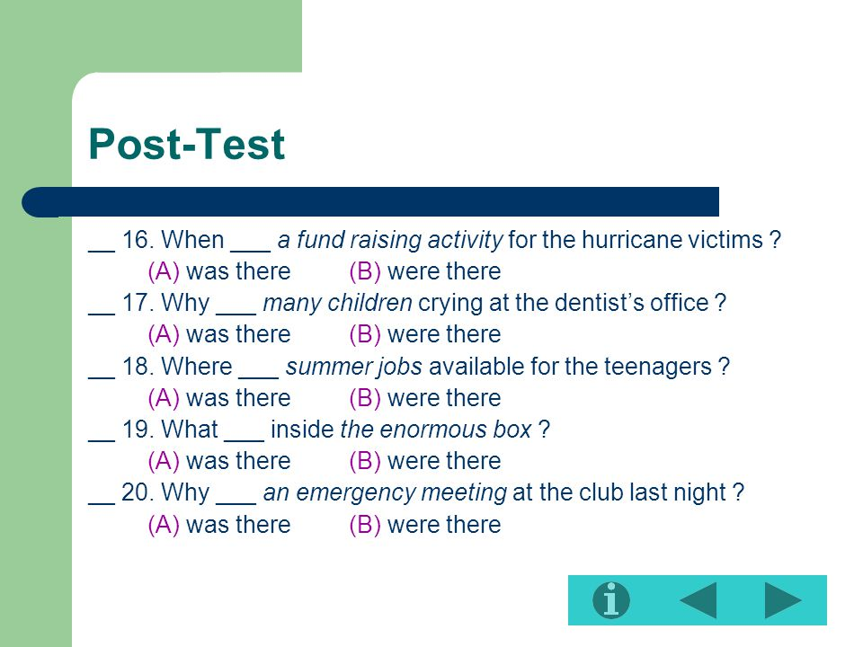 Post-Test __ 16.When ___ a fund raising activity for the hurricane victims .