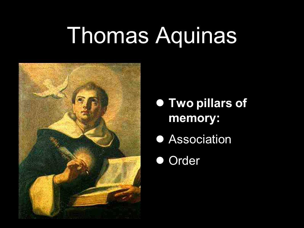 Thomas Aquinas Two pillars of memory: Association Order