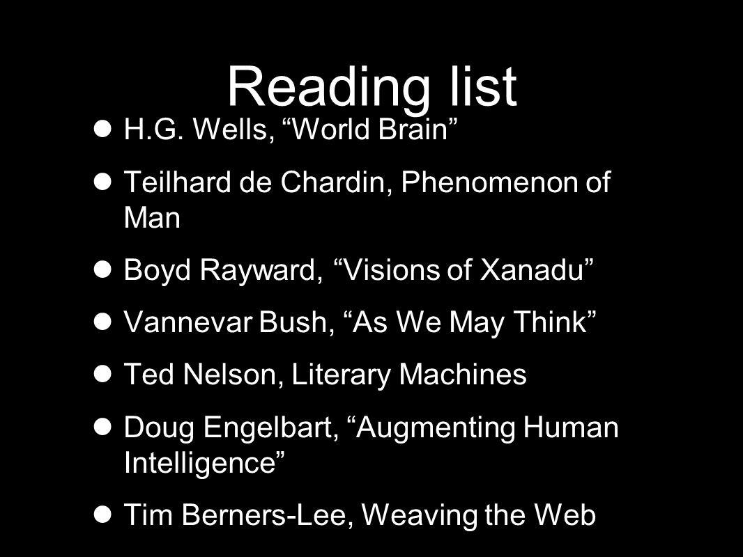 Reading list H.G.
