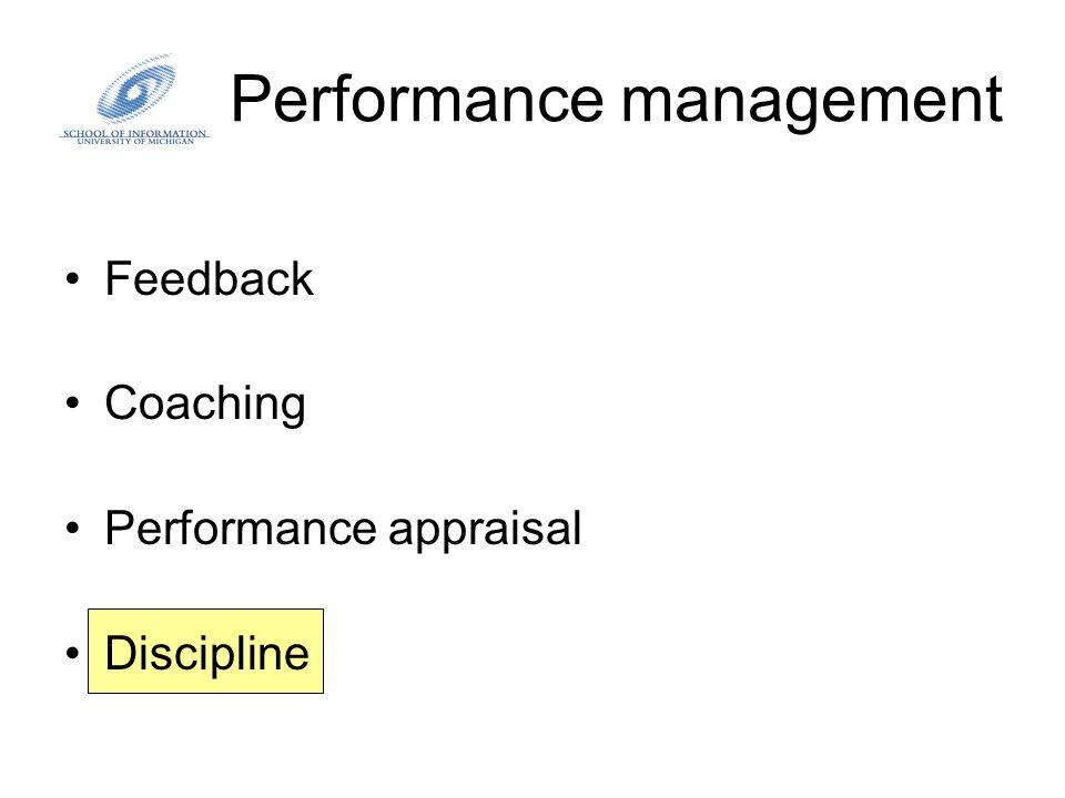 Performance management Feedback Coaching Performance appraisal Discipline