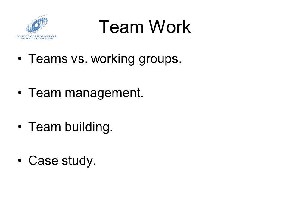 Team Work Teams vs. working groups. Team management. Team building. Case study.