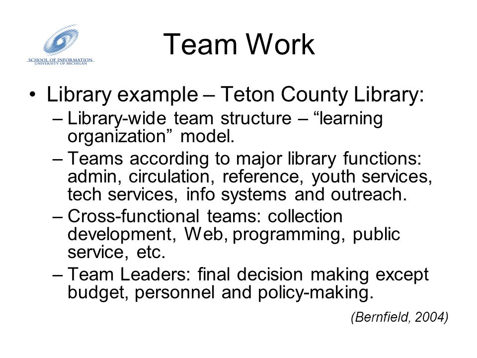 """Team Work Library example – Teton County Library: –Library-wide team structure – """"learning organization"""" model. –Teams according to major library func"""