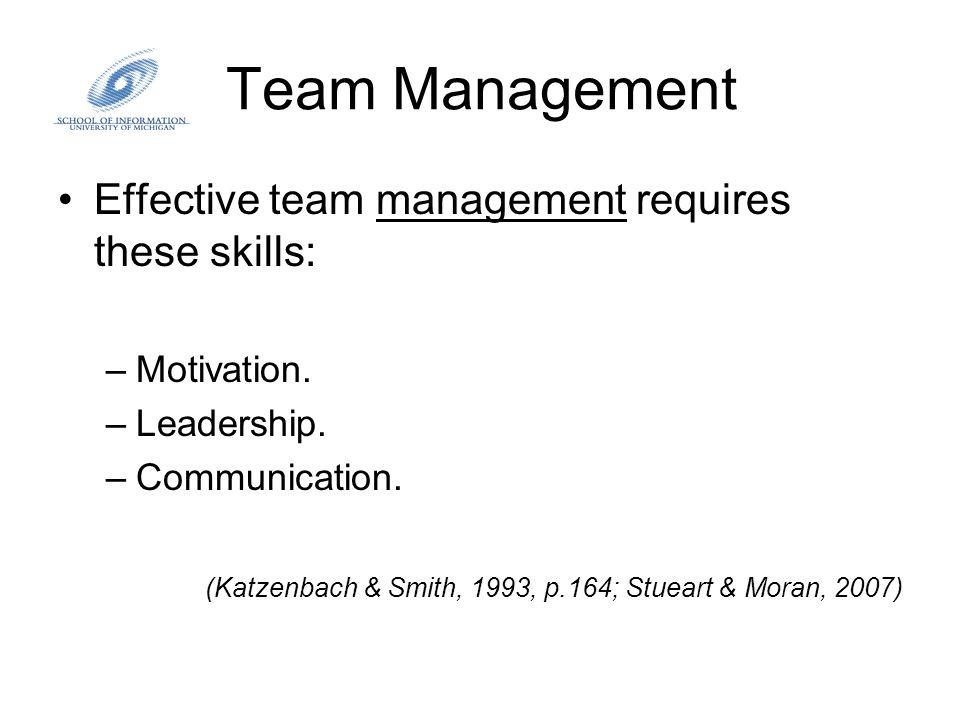 Team Management Effective team management requires these skills: –Motivation. –Leadership. –Communication. (Katzenbach & Smith, 1993, p.164; Stueart &