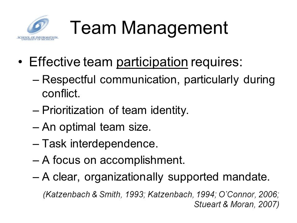Team Management Effective team participation requires: –Respectful communication, particularly during conflict. –Prioritization of team identity. –An