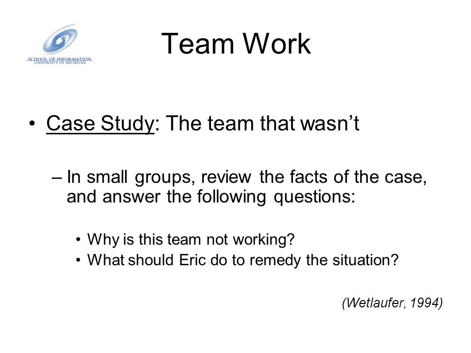 Team Work Case Study: The team that wasn't –In small groups, review the facts of the case, and answer the following questions: Why is this team not wo