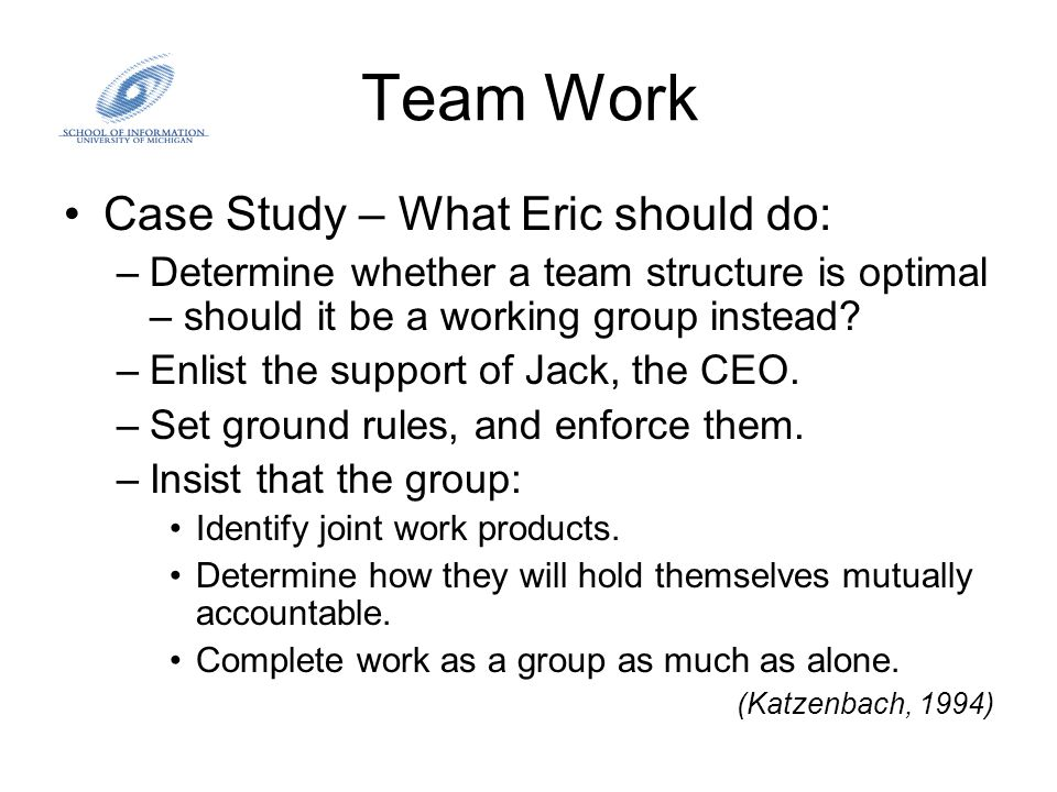 Team Work Case Study – What Eric should do: –Determine whether a team structure is optimal – should it be a working group instead? –Enlist the support