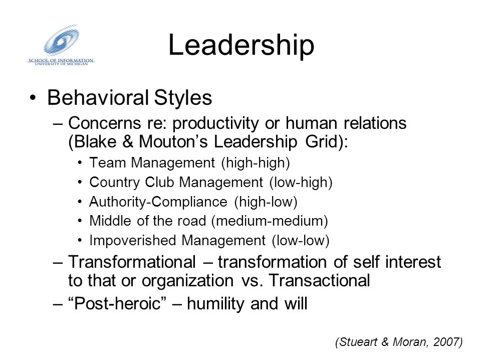 Leadership Behavioral Styles –Concerns re: productivity or human relations (Blake & Mouton's Leadership Grid): Team Management (high-high) Country Clu