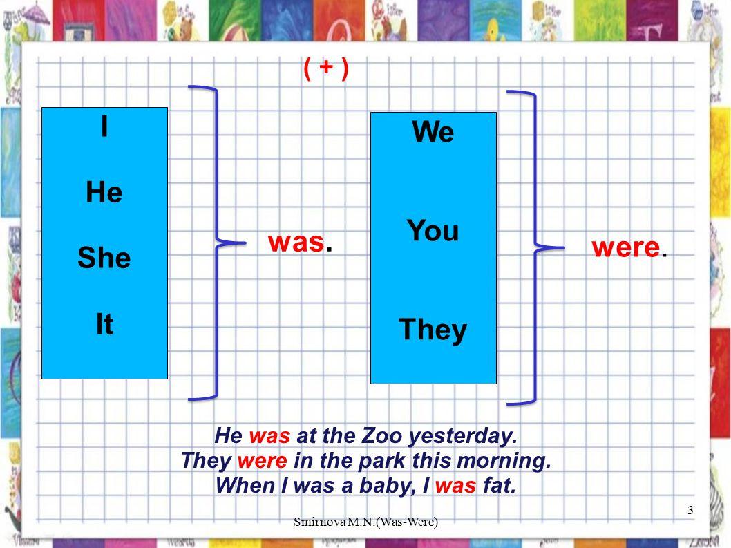 ( + ) I He She It was. We You They were. He was at the Zoo yesterday.