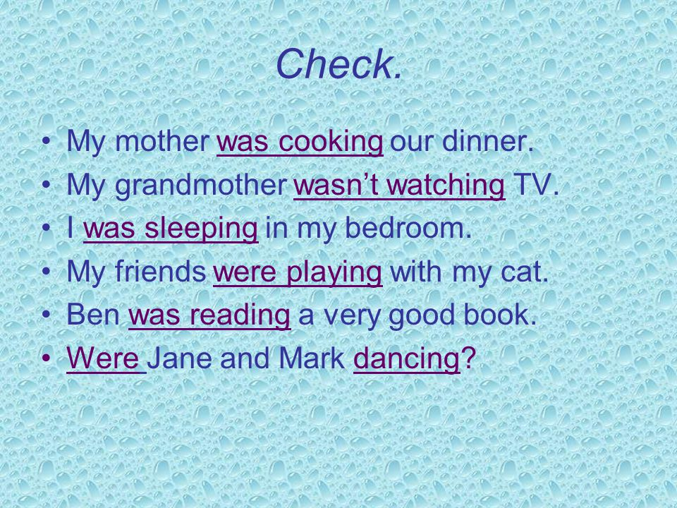 Practise: use the verbs in past continuous sleepnot watchcook playreaddance My mother ________________our dinner. My grandmother _____________TV. I __