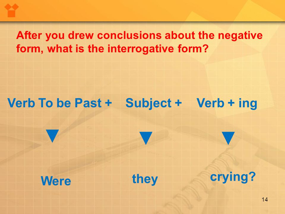 14 After you drew conclusions about the negative form, what is the interrogative form? Verb To be Past +Subject +Verb + ing Were they crying? ▼ ▼ ▼