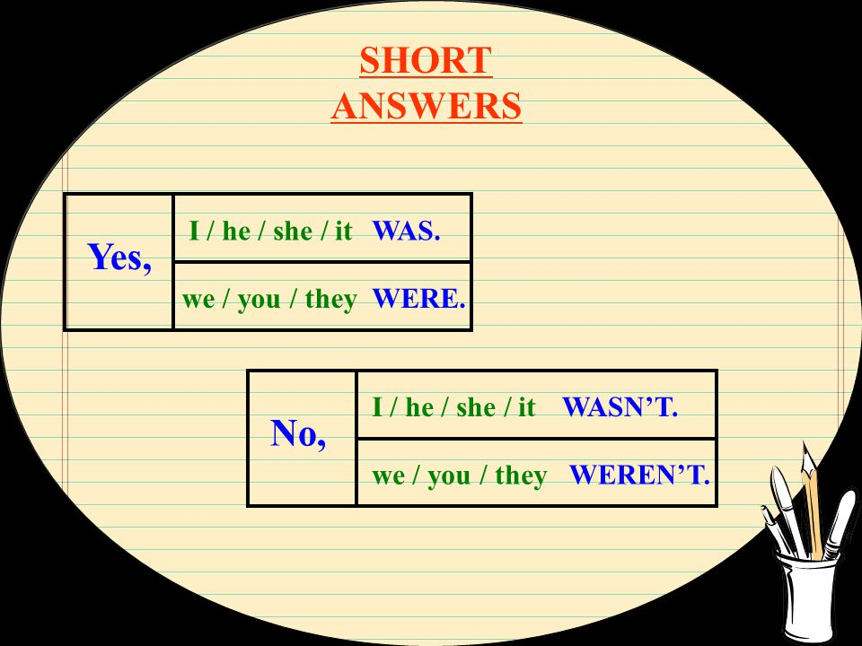 SHORT ANSWERS WAS. WERE. I / he / she / it Yes, we / you / they No, I / he / she / it we / you / they WASN'T. WEREN'T.