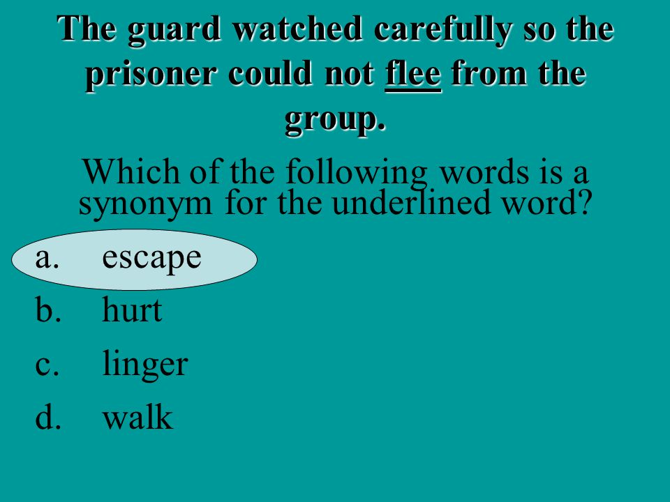 The guard watched carefully so the prisoner could not flee from the group.