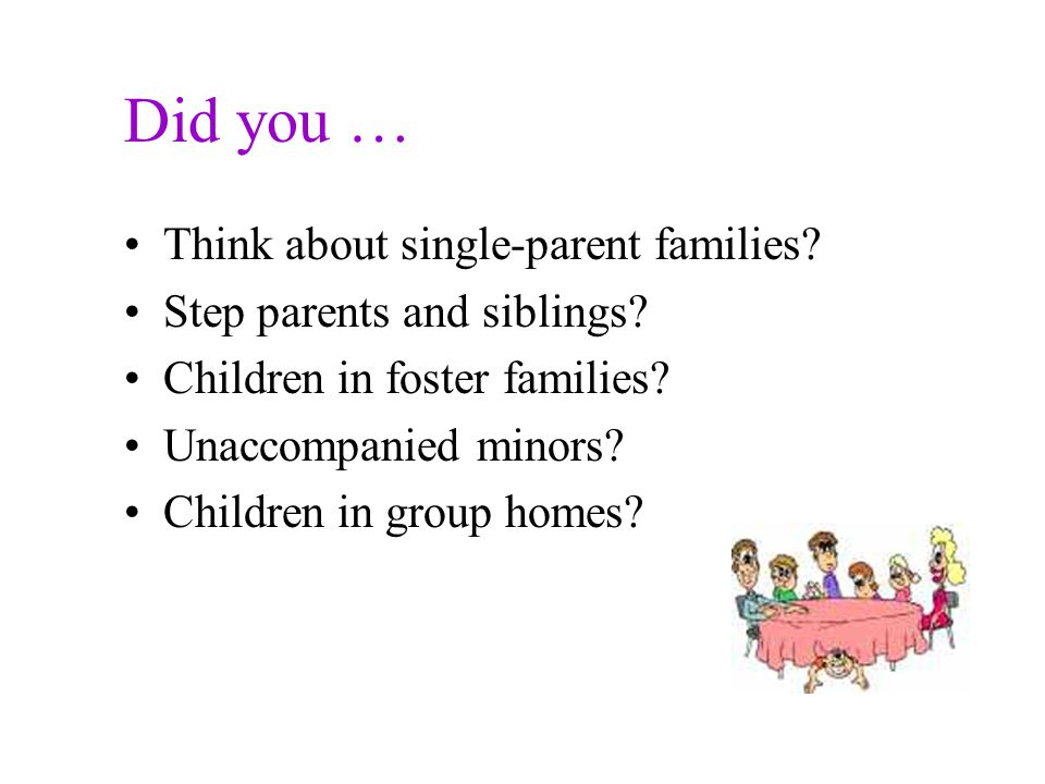 Let's think about it…. You have just finished teaching your students about families.
