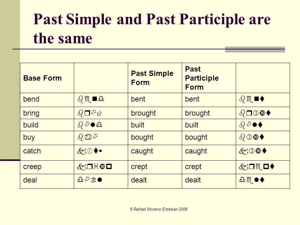 © Rafael Moreno Esteban 2008 Past Simple and Past Participle are the same Base Form Past Simple Form Past Participle Form bend bent bringbr  brought