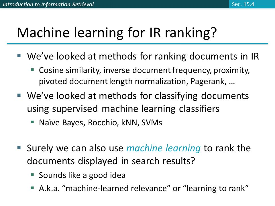 Introduction to Information Retrieval Two queries in the pairwise space