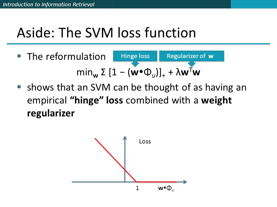 Introduction to Information Retrieval Aside: The SVM loss function  The reformulation min w Σ [1 − (w  Φ u )] + + λw T w  shows that an SVM can be thought of as having an empirical hinge loss combined with a weight regularizer Loss 1 w  Φ u Hinge loss Regularizer of‖w‖