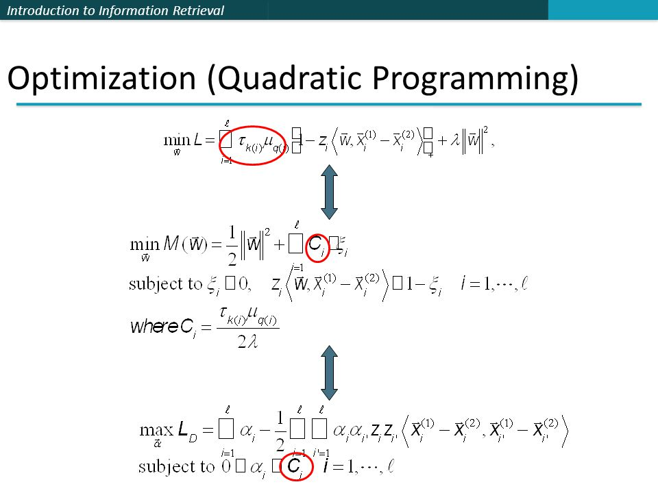 Introduction to Information Retrieval Optimization (Quadratic Programming)