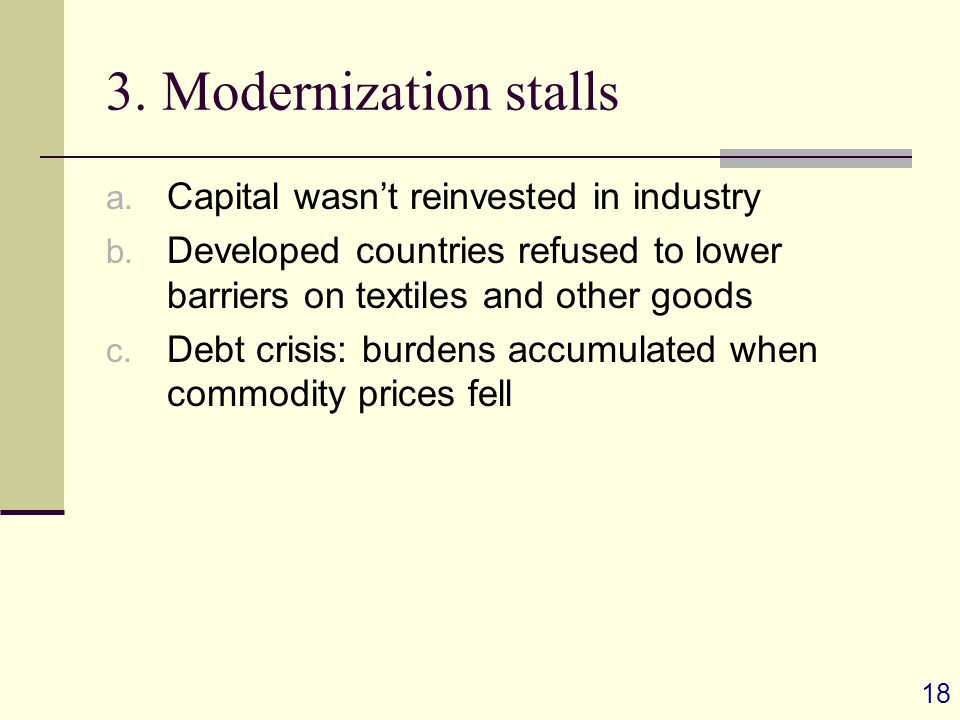 18 3. Modernization stalls a. Capital wasn't reinvested in industry b.