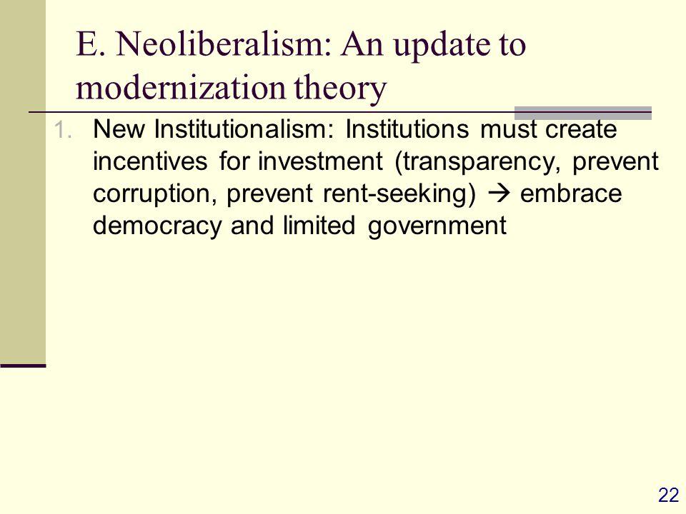 22 E. Neoliberalism: An update to modernization theory 1.
