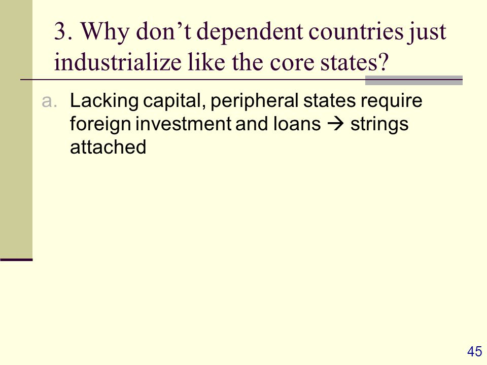 45 3. Why don't dependent countries just industrialize like the core states.
