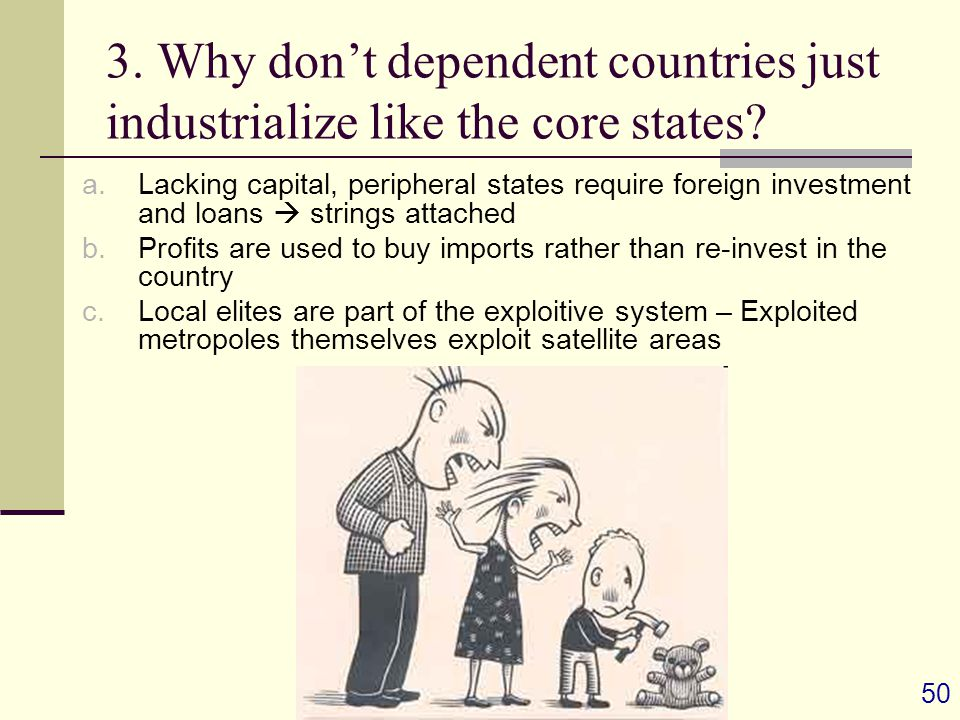 50 3. Why don't dependent countries just industrialize like the core states.