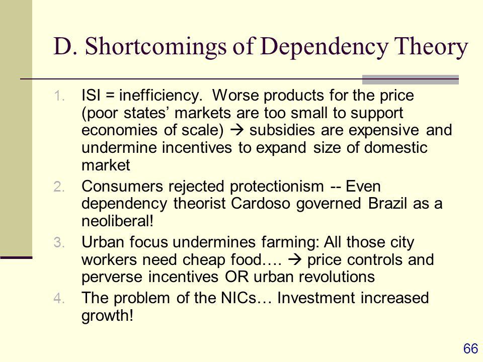 66 D. Shortcomings of Dependency Theory 1. ISI = inefficiency.
