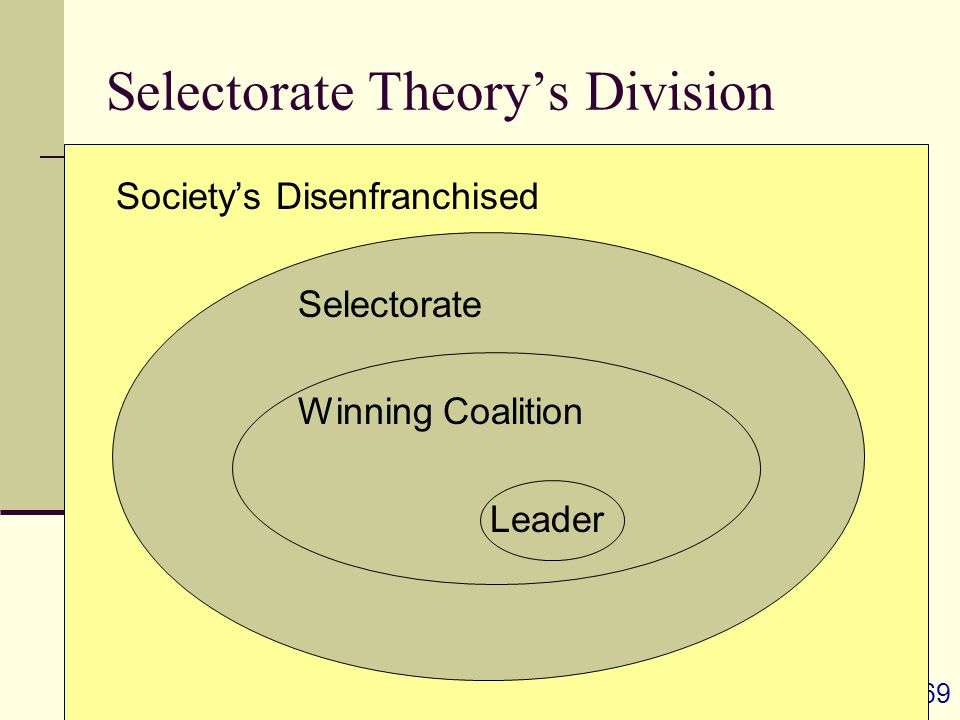 69 Selectorate Theory's Division Society's Disenfranchised Selectorate Winning Coalition Leader