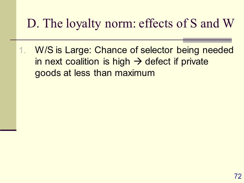 72 D. The loyalty norm: effects of S and W 1.