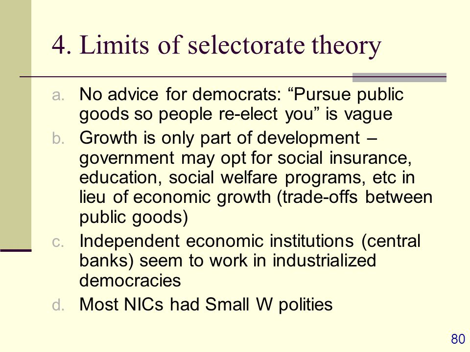 80 4. Limits of selectorate theory a.