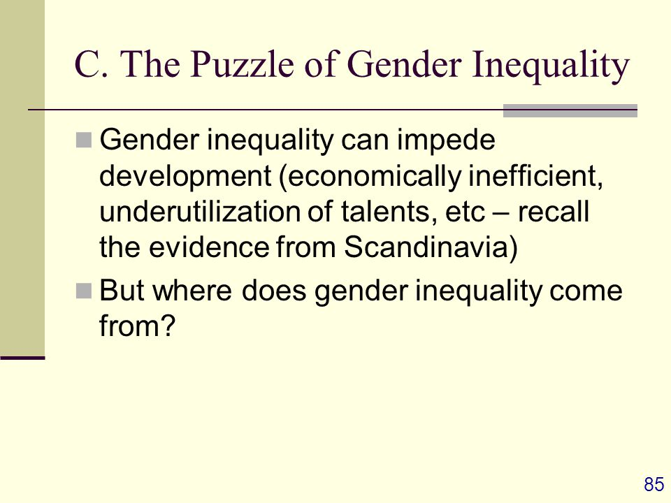 C. The Puzzle of Gender Inequality Gender inequality can impede development (economically inefficient, underutilization of talents, etc – recall the e