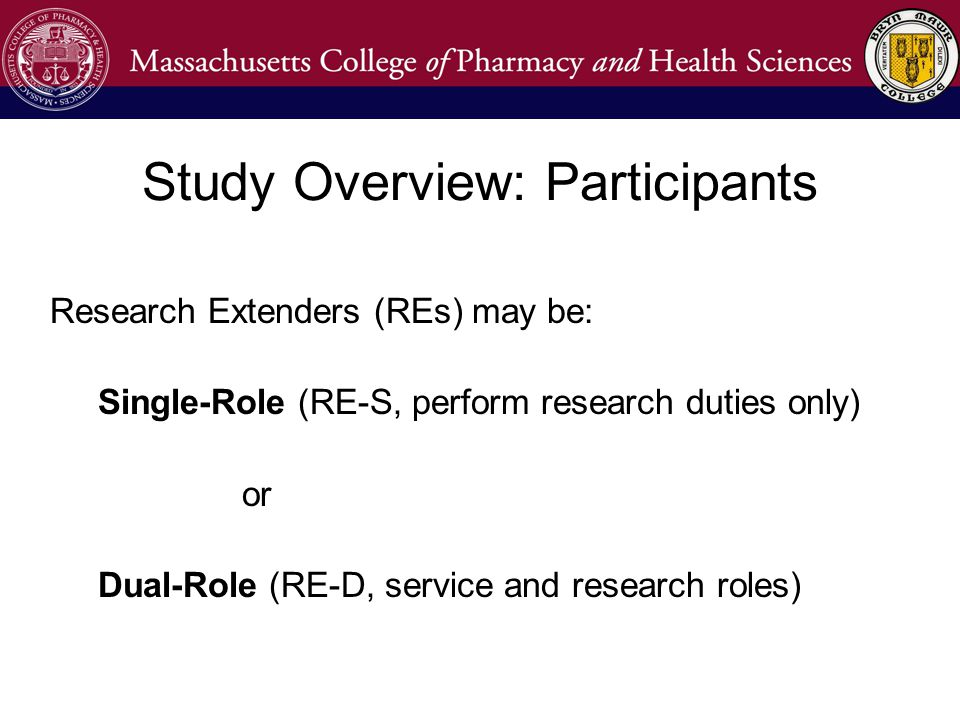 Research Extenders (REs) may be: Single-Role (RE-S, perform research duties only) or Dual-Role (RE-D, service and research roles) Study Overview: Participants