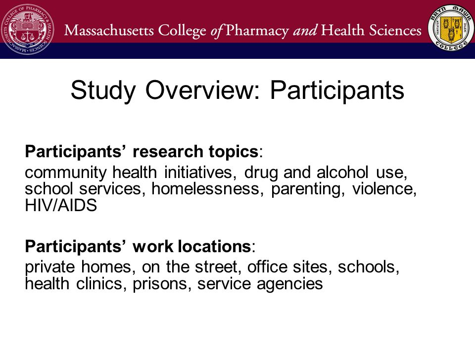 Participants' research topics: community health initiatives, drug and alcohol use, school services, homelessness, parenting, violence, HIV/AIDS Participants' work locations: private homes, on the street, office sites, schools, health clinics, prisons, service agencies