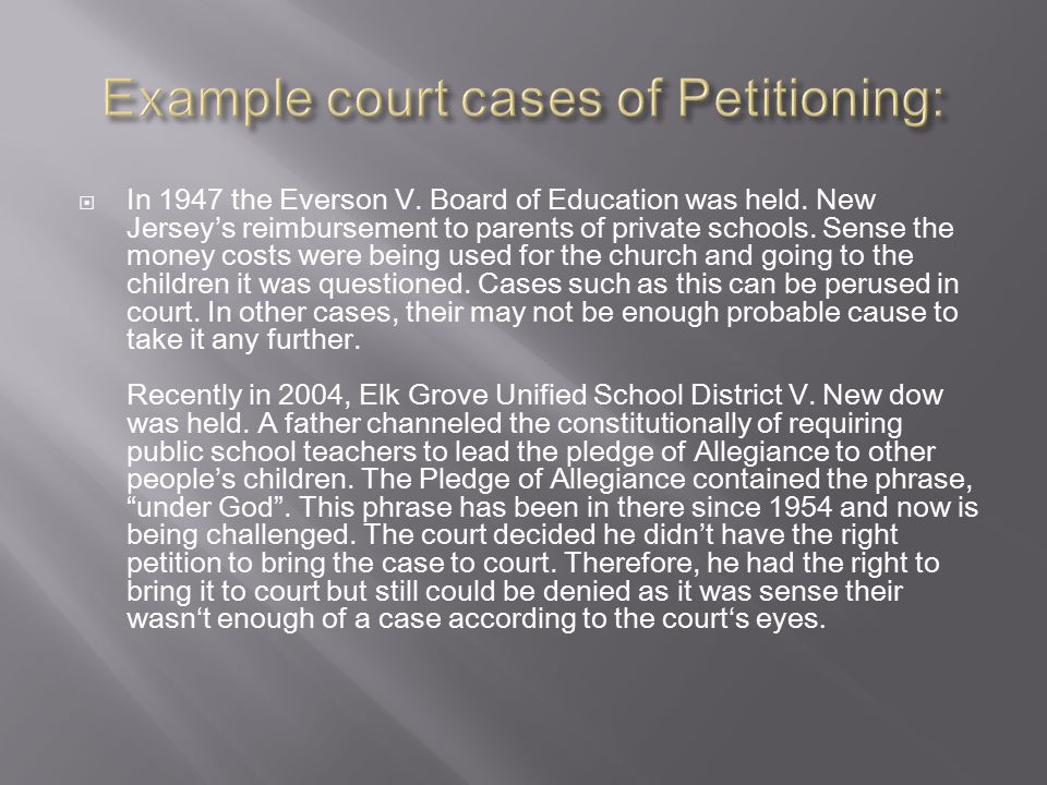  In 1947 the Everson V. Board of Education was held.