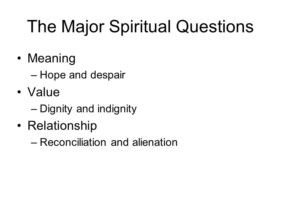 The Major Spiritual Questions Meaning –Hope and despair Value –Dignity and indignity Relationship –Reconciliation and alienation