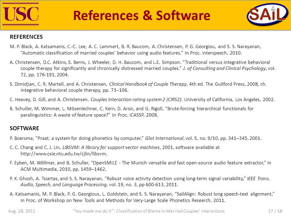 References & Software REFERENCES M.P. Black, A. Katsamanis, C.-C.