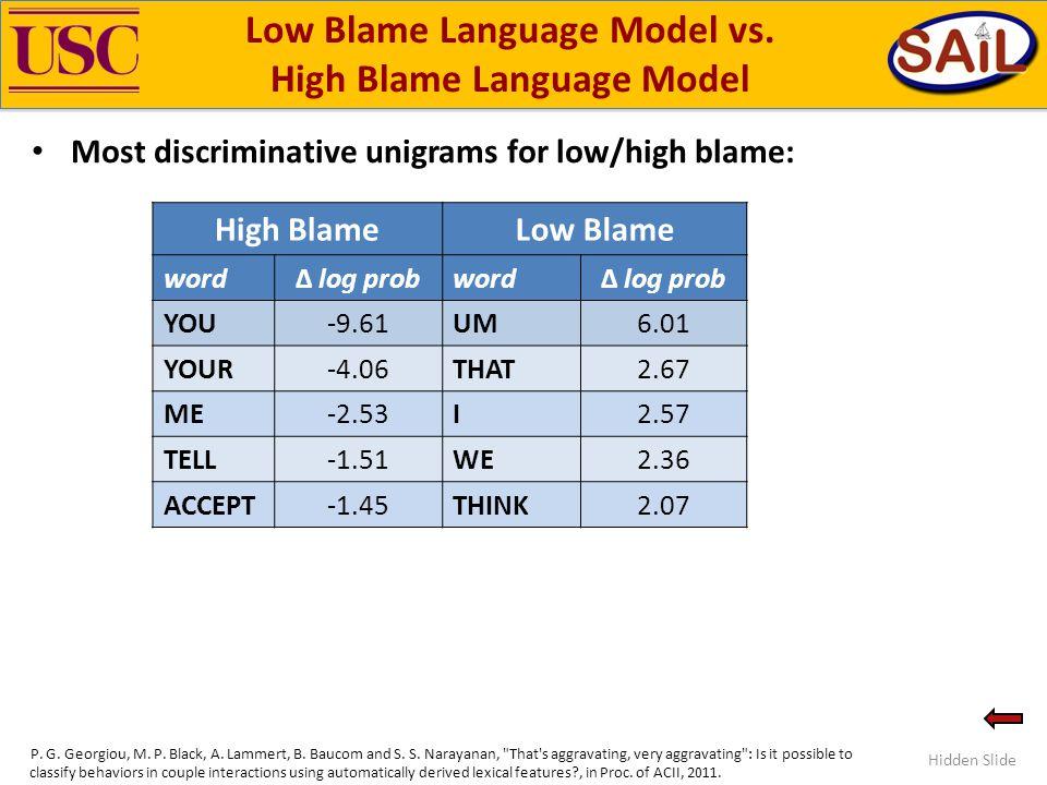 Low Blame Language Model vs.