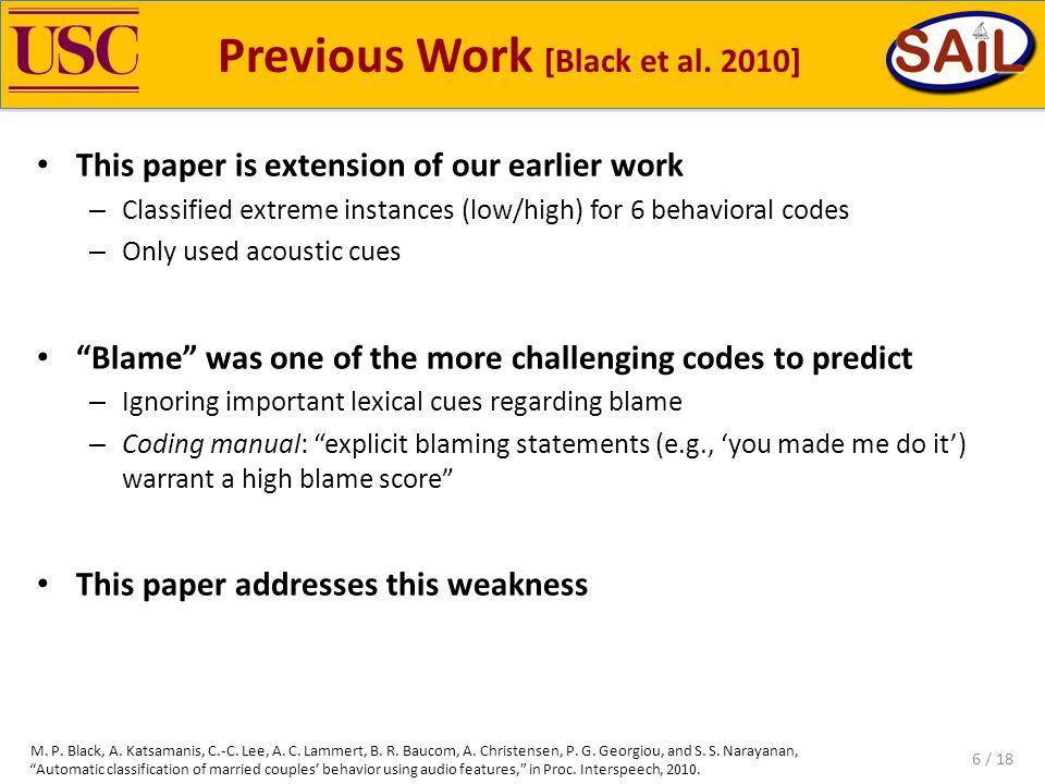 Previous Work [Black et al.