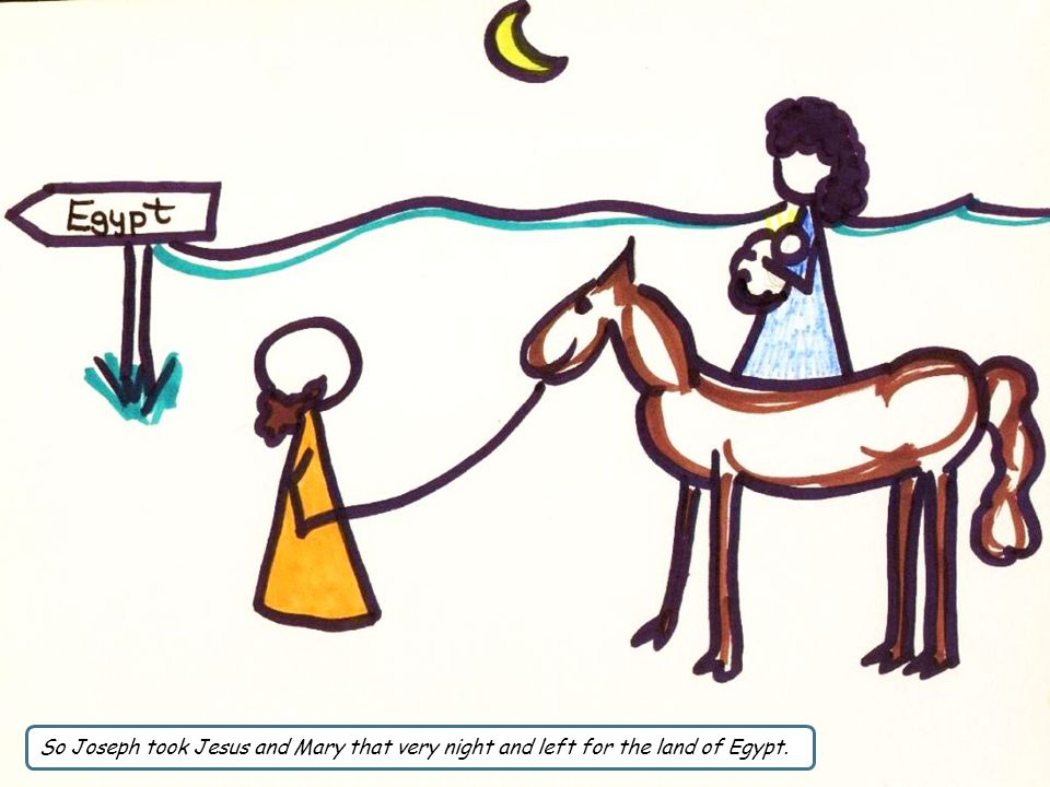 So Joseph took Jesus and Mary that very night and left for the land of Egypt.