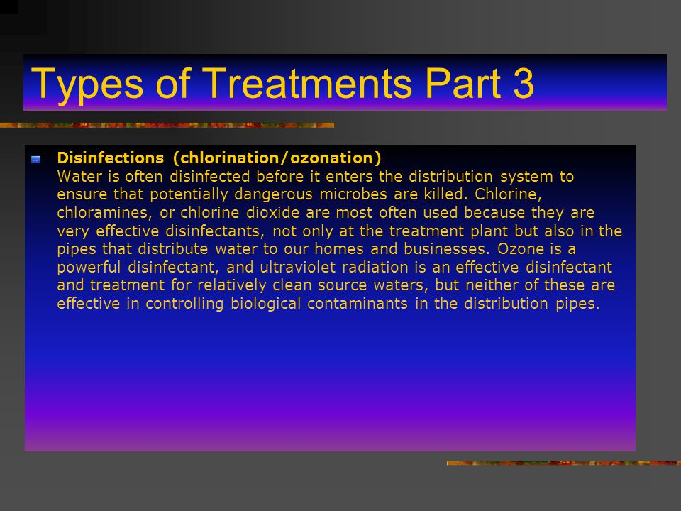 Types of Treatments Part 2 Ion Exchange Ion exchange processes are used to remove inorganic contaminants if they cannot be removed adequately by filtr