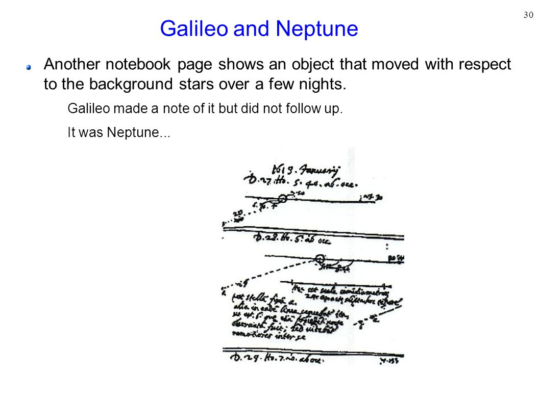 30 Galileo and Neptune Another notebook page shows an object that moved with respect to the background stars over a few nights. Galileo made a note of