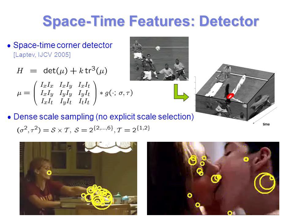 Space-Time Features: Detector  Space-time corner detector [Laptev, IJCV 2005]  Dense scale sampling (no explicit scale selection)
